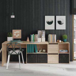 mesa de estudio con estantes y cajones