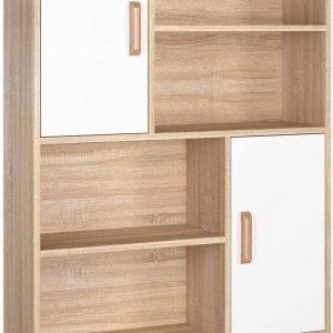 estanteria de madera y blanco