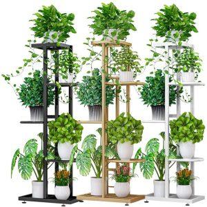 estante metal plantas